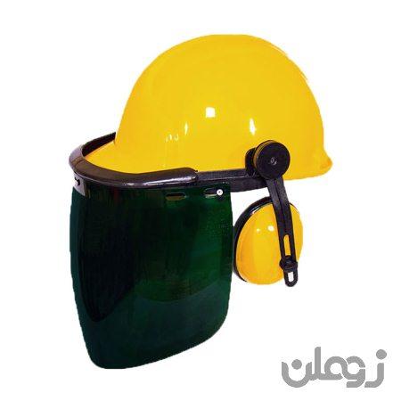 کلاه ایمنی با گوشی و شیلد رنگی طرح jsp